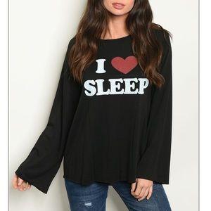 Black I ❤️ Sleep long sleeve casual top